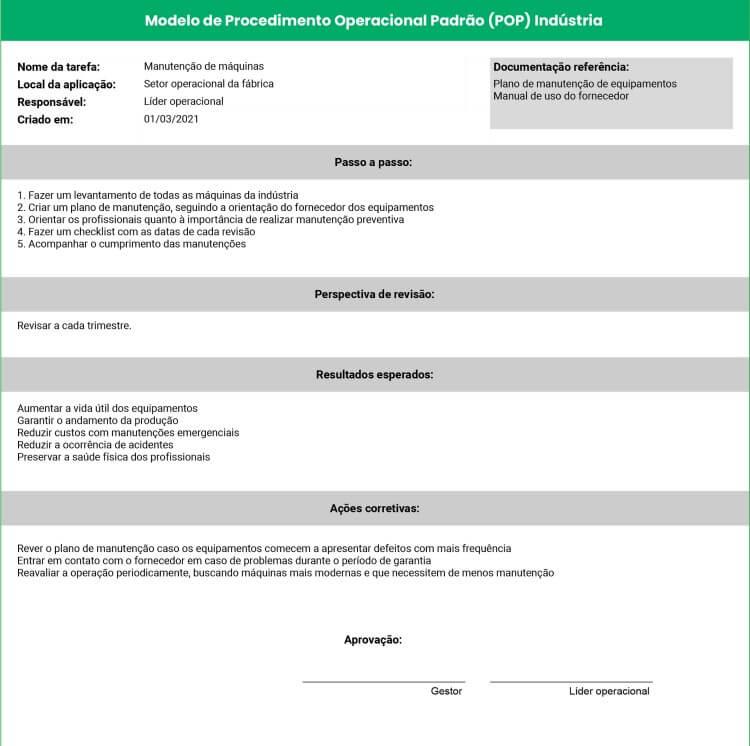 Modelo de Procedimento Operacional Padrão para indústria